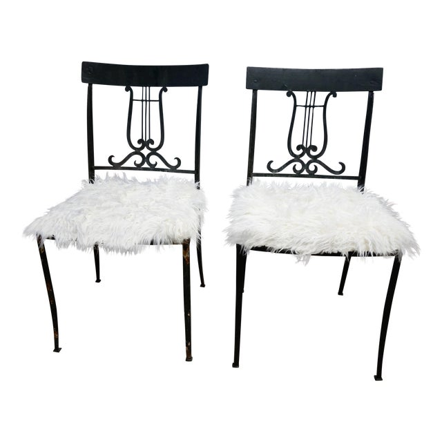 Wrought Iron Musical Chairs - A Pair - Image 1 of 6