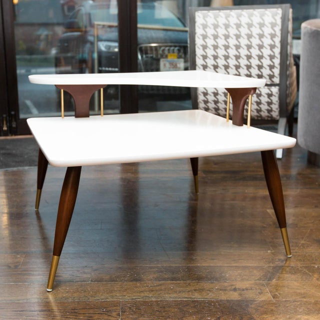 Vintage Lacquered Two-Tiered Corner Table - Image 2 of 8