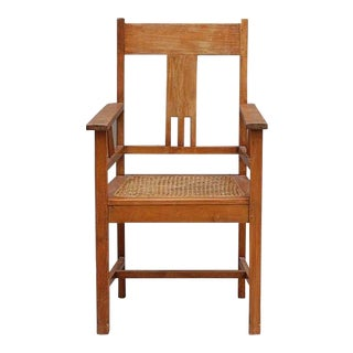 Mid Century Large Arts & Crafts Caned Armchair For Sale