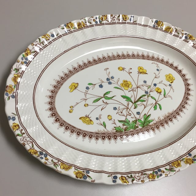 Spode Copeland Buttercup Large Oval Serving Platter. Fluted edge features basketweave textural design. Iconic design...