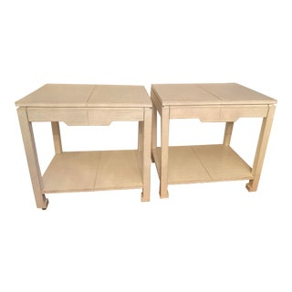 Asian Jonathan Adler Preston Leather Croc Side End Tables - a Pair For Sale