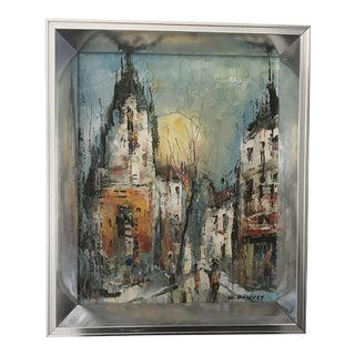 Original City Sunset Small Framed Oil Painting by W. Downey