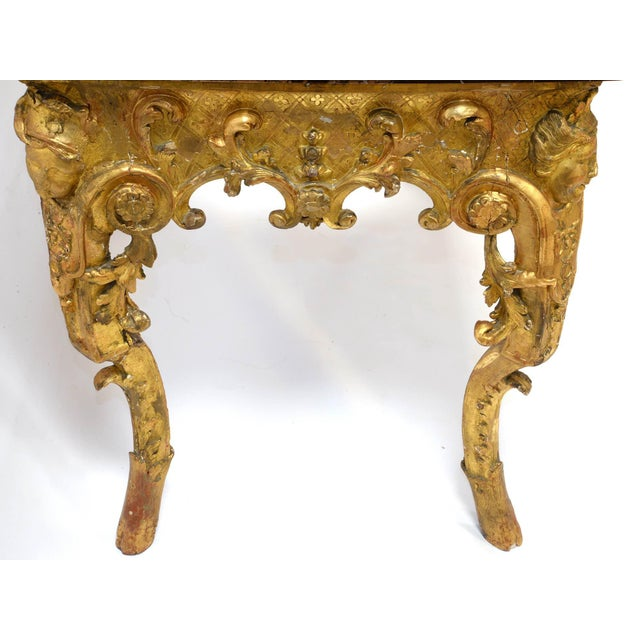 Gold Regency Console in Wood and Marble, French, XVIII Century For Sale - Image 8 of 11