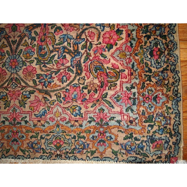 1920s Hand Made Antique Persian Kerman Rug 3.2' X 4.9' For Sale In New York - Image 6 of 7