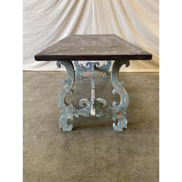 Tuscan Painted Trestle Dining Table For Sale - Image 4 of 13