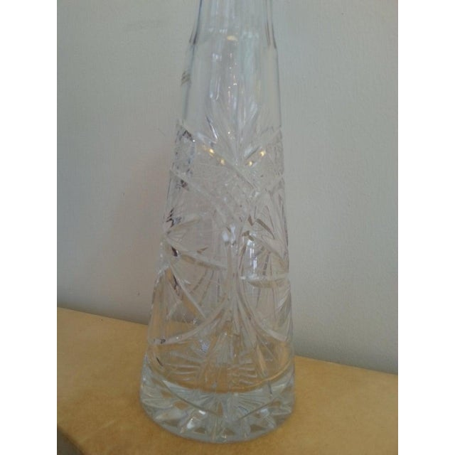 Vintage Slender Cut Lead Crystal Decanter For Sale - Image 9 of 11