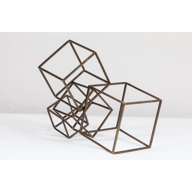 Brutalist Cubist Brass Sculpture For Sale - Image 3 of 8