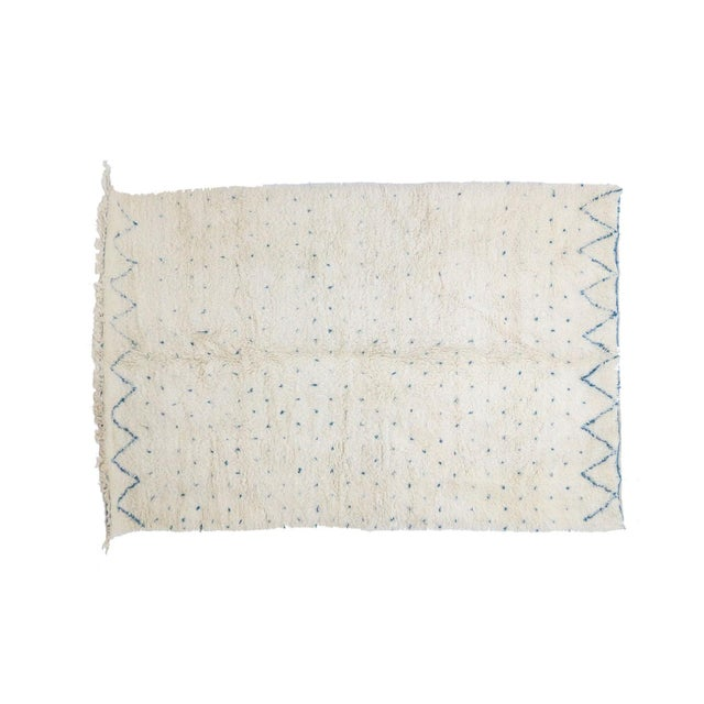 "Contemporary Contemporary Beni Ourain Vintage Moroccan Rug - 7'3"" X 10'7"" For Sale - Image 3 of 6"