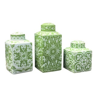 Vintage Green Canisters - Set of 3