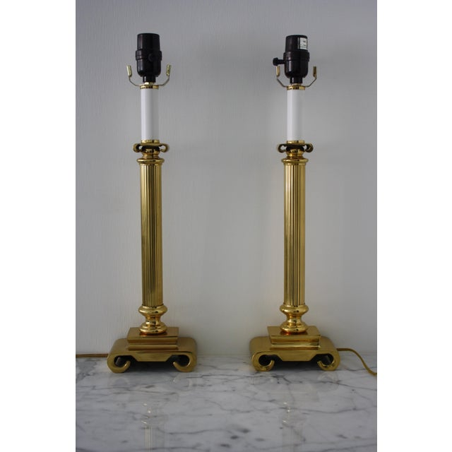 Neoclassical Brass Columnar Candlestick Table Lamps- A Pair - Image 2 of 11