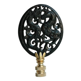 Oval Chinoiserie Carved Stone Lamp Finial on Brass Hardware For Sale
