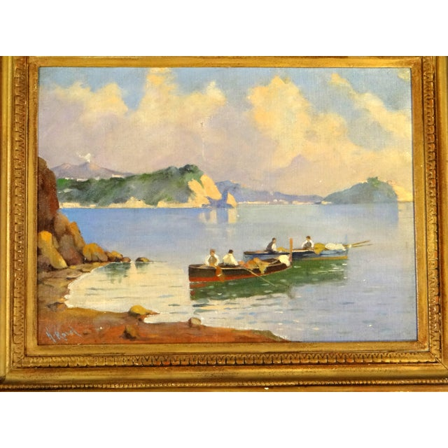 Italian Coastal Scene with Mount Vesuvius by Henry Ravell (1864 – 1930) California Two fishing boats with men near the Bay...