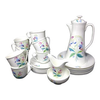 Gustavsberg Florette Demitasse Set - Pot Creamer Sugar & 8 Ea Cup Saucer Plates - Set of 27 For Sale