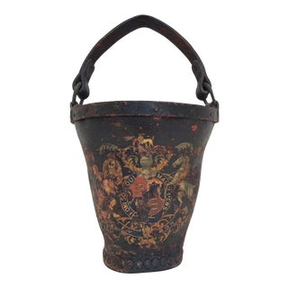 Antique Leather Coat of Arms Fire Bucket For Sale