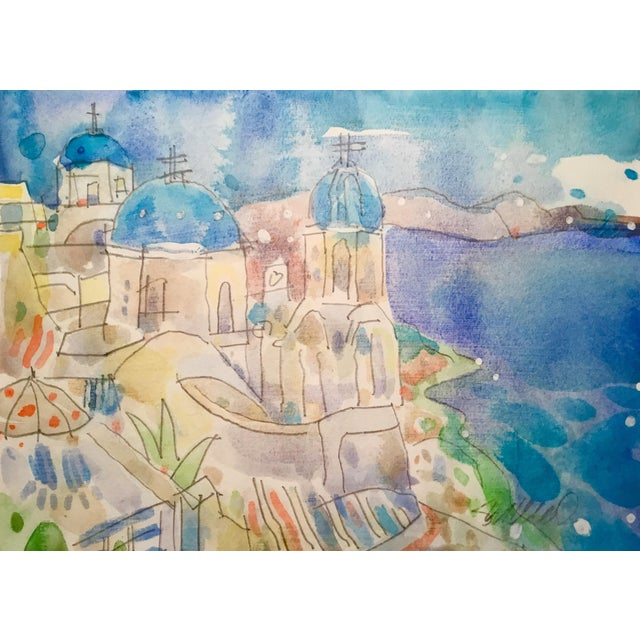 Mykonos Original Watercolor Painting - Image 1 of 2