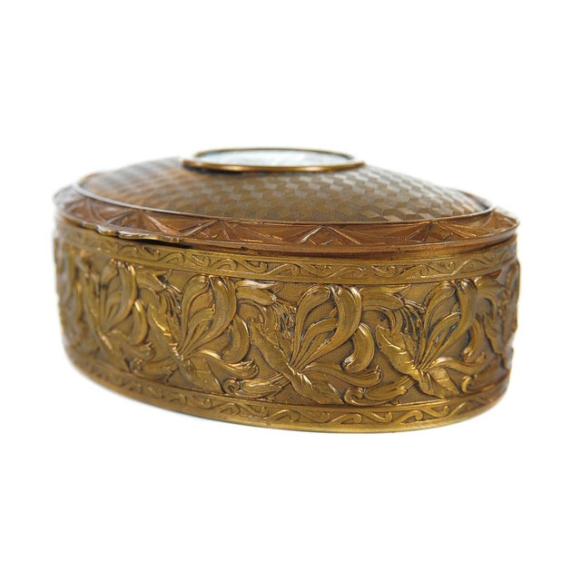 """Late 19th Century 19th C. Bronze & Enamel 5"""" Oval Jewelry Box For Sale - Image 5 of 9"""