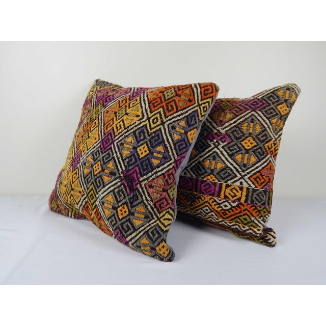 """Mid-Century Modern Turkish Kilim Pillow Cover - a Pair 18"""" X 18"""" For Sale - Image 3 of 6"""