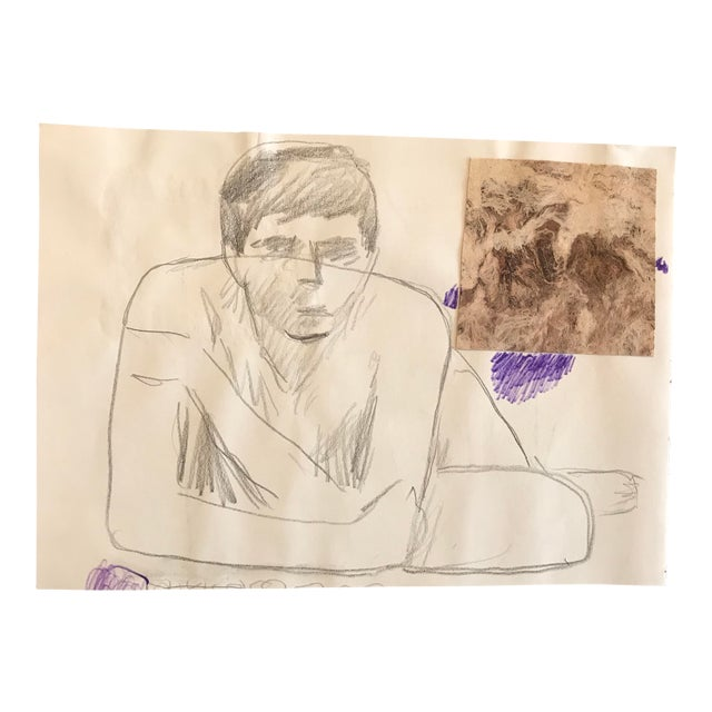 1980s James Bone Resting Man Collage Drawing For Sale