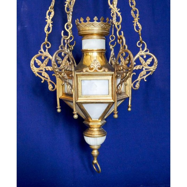 This is a rare and magnificent antique sanctuary lamp (always burning to indicate the presence of the Blessed Sacrament)...