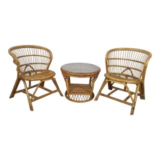 Vintage Franco Albini Style Tropical Two Chairs and Side Table - Set of 3 For Sale