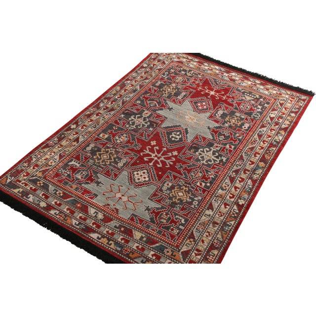 Tribal Rug & Kilim's Classic Style Rug in Red and Blue Geometric Pattern For Sale - Image 3 of 5
