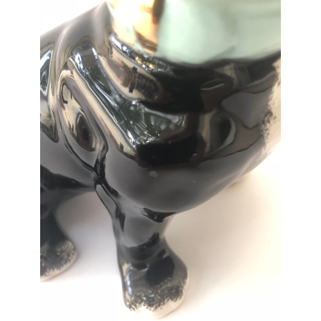 Turquoise Vintage Black and White Ceramic French Bulldog For Sale - Image 8 of 10