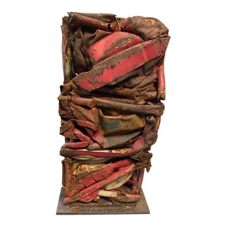 Industrial Crushed Metal Sculpture For Sale
