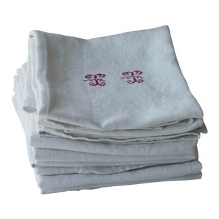 "1920s ""TT"" Monogrammed White Damask Linen Napkins - Set of 12 For Sale"