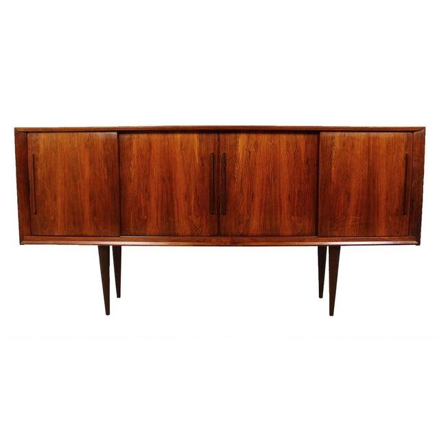 Stately Danish Modern Rosewood 4 Door Sideboard - Image 1 of 9