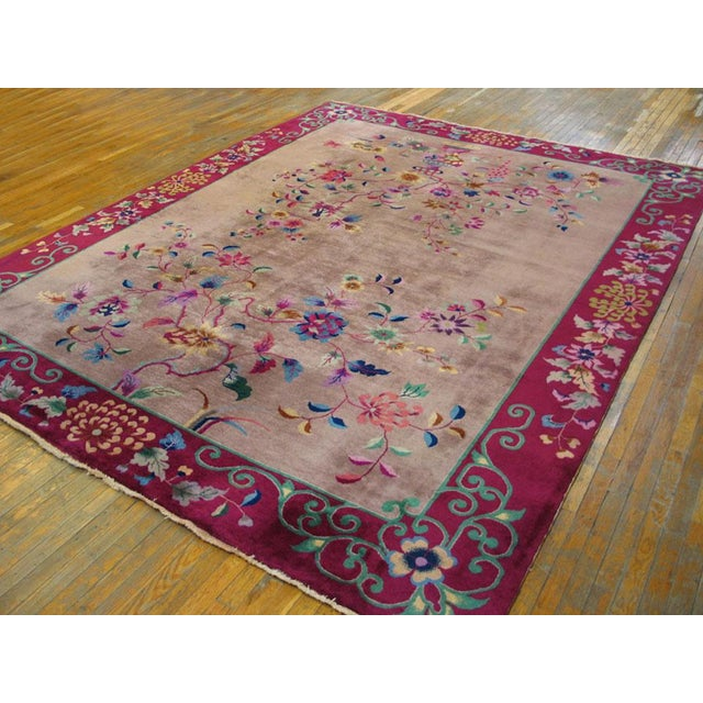 Antique Chinese Art Deco Rug- 8′10″ × 11′8″ For Sale - Image 4 of 7