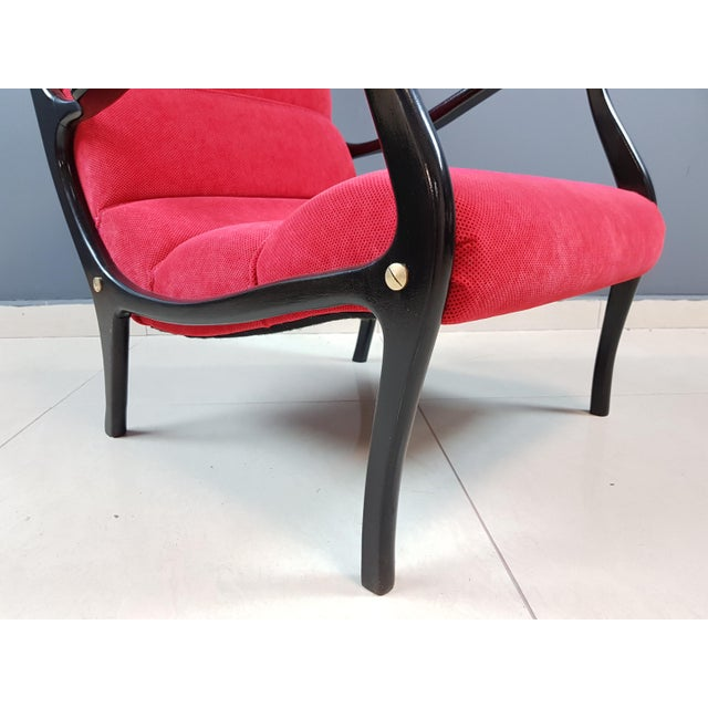 Italian Mid-Century Modern Lounge Armchairs by Ezio Longhi, 1950s Reupholstered - a Pair For Sale - Image 10 of 13