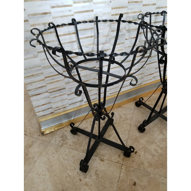Mid-Century Wrought Iron Basket Planters - Set of 4 For Sale - Image 10 of 10