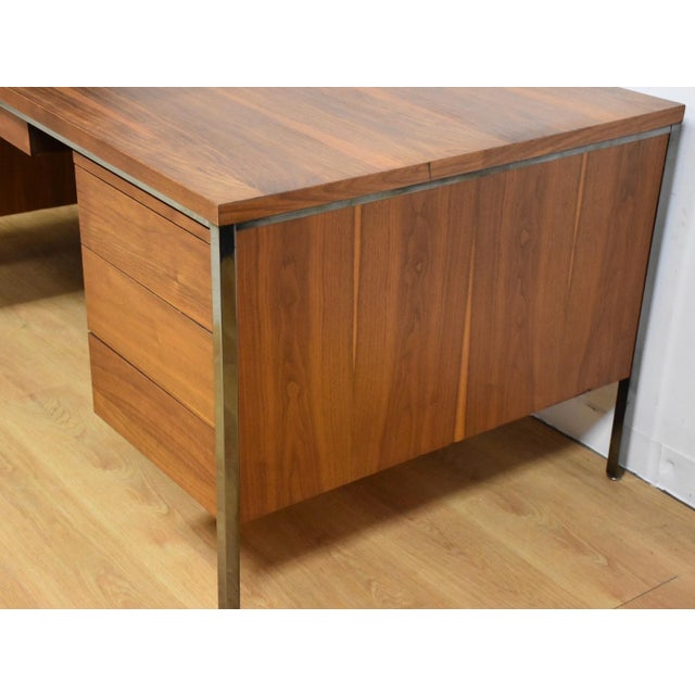 Lehigh Leopold Walnut Executive Desk For Sale - Image 5 of 11