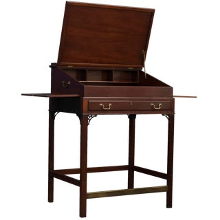 Kittinger Leather Inlayed Traditional Standing Desk For Sale