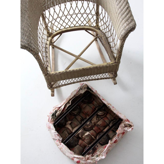 Antique Wicker Chair and Rocker For Sale - Image 10 of 11