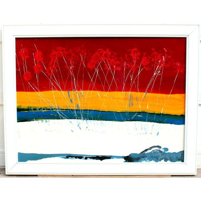 Large expressionist landscape painting in enamel on board depicting grasses or flowers against a seaside sunset, circa...