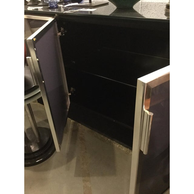 1970s Hollywood Regency Black Smoked Mirror and Midnight Blue Credenza For Sale - Image 4 of 8