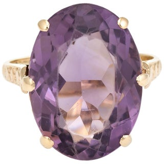 Vintage Amethyst Ring 9 Karat Gold Large Cocktail English Estate Fine Jewelry For Sale