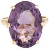 Image of Vintage Amethyst Ring 9 Karat GoldCocktail English For Sale