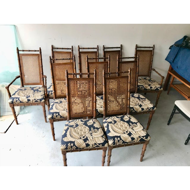 1960's Vintage Cane Back Faux Bamboo Dining Chairs- Set of 10 For Sale - Image 12 of 12