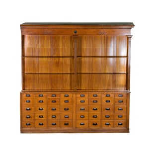 1900s Americana General Store Counter and Apothecary Back Bar Set For Sale