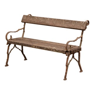19th Century French Weathered Iron and Wood Outdoor Garden Bench For Sale