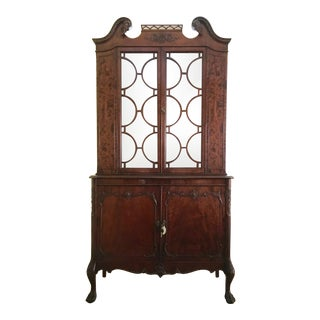 1920s Mahogany Chippendale China Closet For Sale