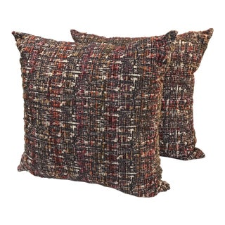 Contemporary Style Custom Woven Fabric Pillows - a Pair For Sale