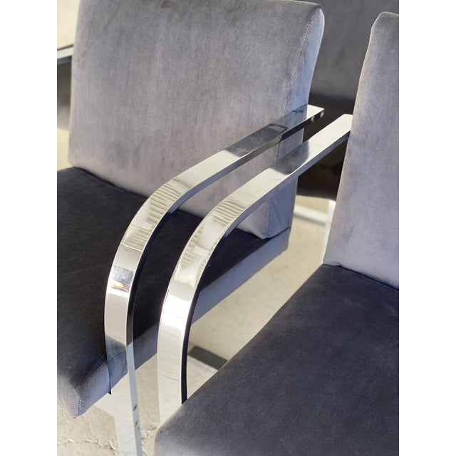 Mid-Century Modern Charcoal Velvet and Chrome Cantilever Chairs - Set of 6 For Sale In Phoenix - Image 6 of 9
