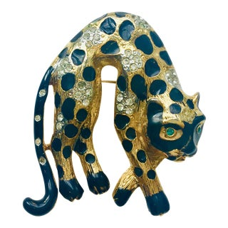 Accessocraft Ny Crystal Enameled Leopard Pin For Sale