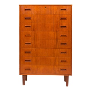 Vintage Danish Mid-Century Eight Drawer Teak Tallboy Dresser For Sale