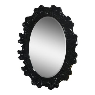 Hollywood Regency Modern Black Mirror For Sale
