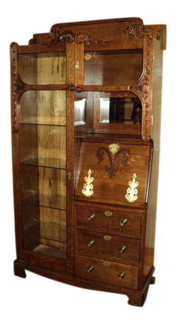 antique oak display cabinet antique oak display cabinet chairish 4118