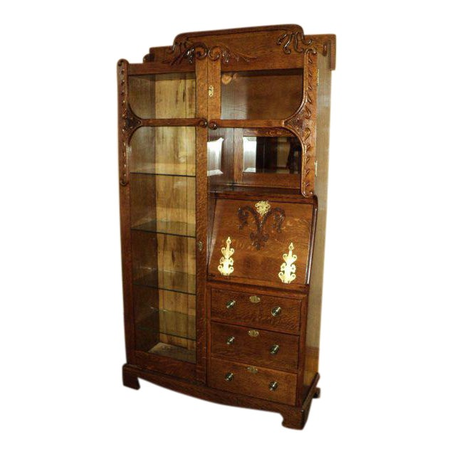 Antique Oak Display Cabinet - Antique Oak Display Cabinet Chairish